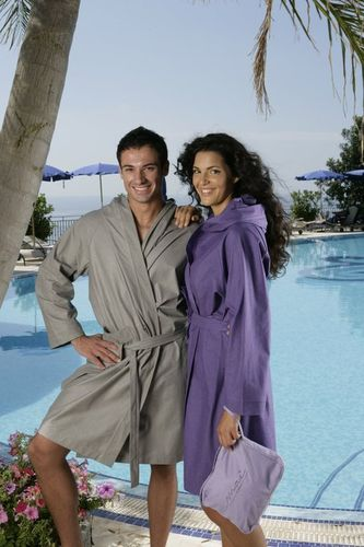 Microfiber bathrobe. Designed for home, travel and sports.